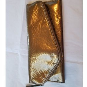 Gold leather clutch wallet